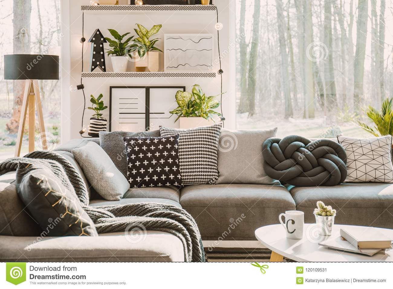 Patterned pillows on grey corner sofa in living room interior with plants lights and window