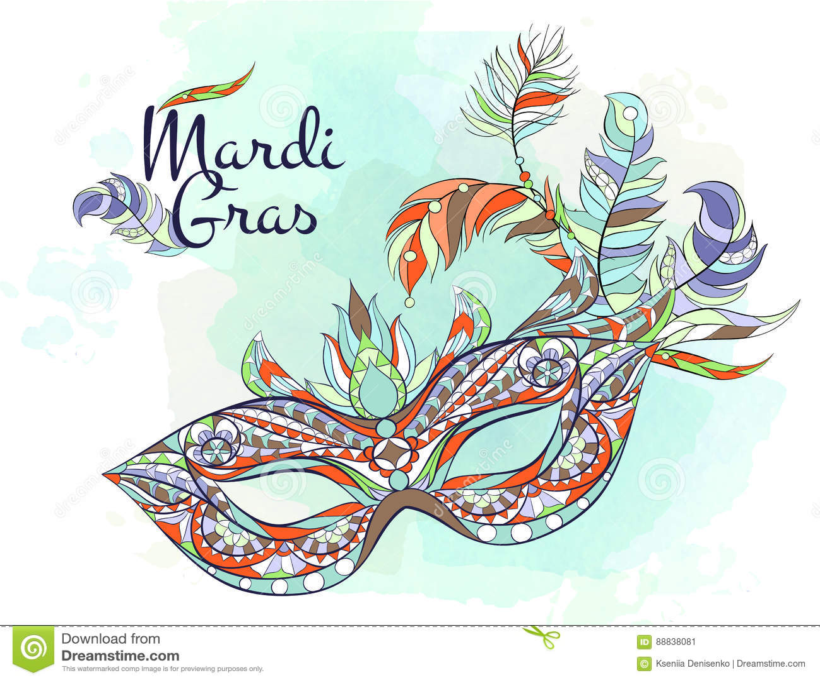 Patterned mask stock vector image of mask ethnic design for Mardi gras mask tattoo