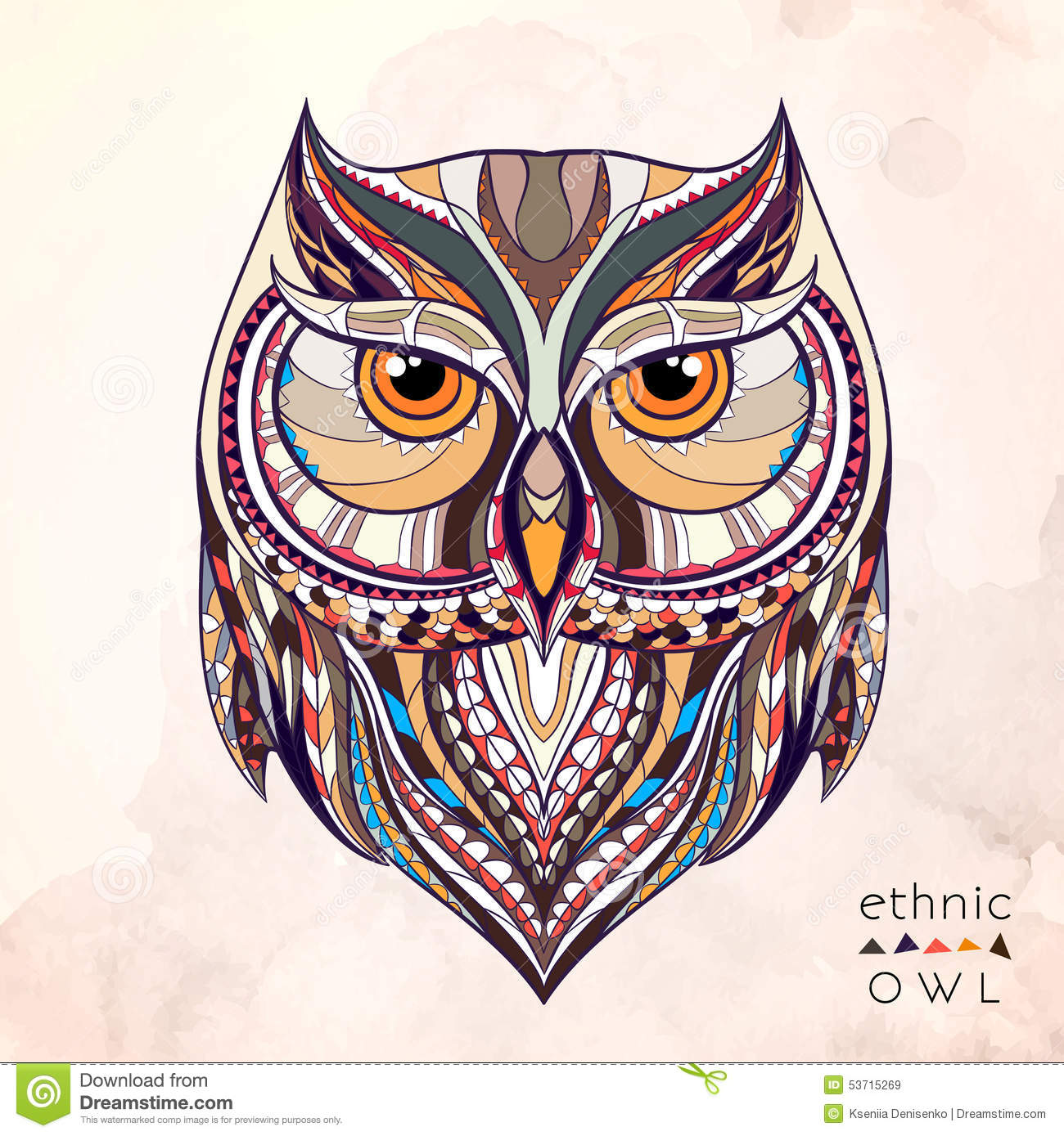 Patterned Owl On The Grunge Background Stock Vector - Image: 53715269