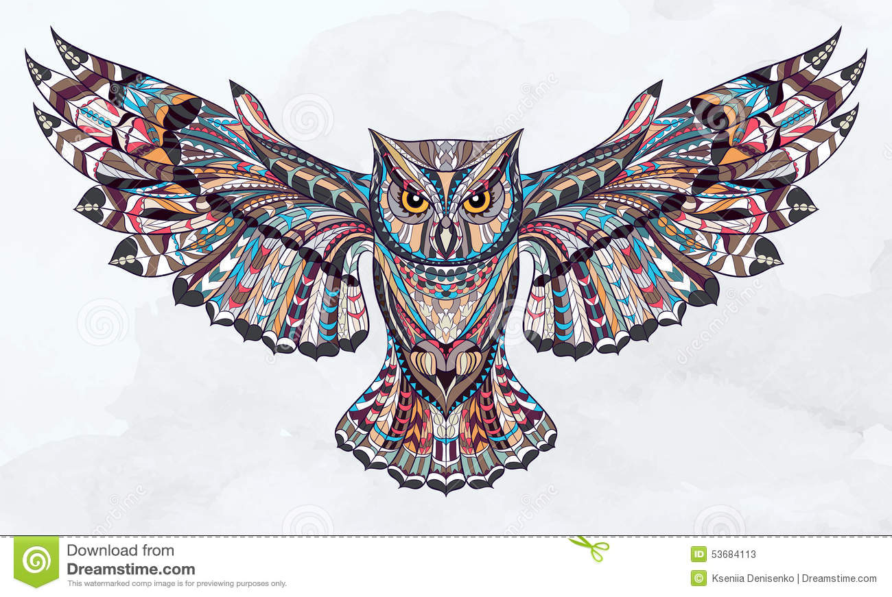 Patterned Owl Stock Vector Illustration Of Decorative