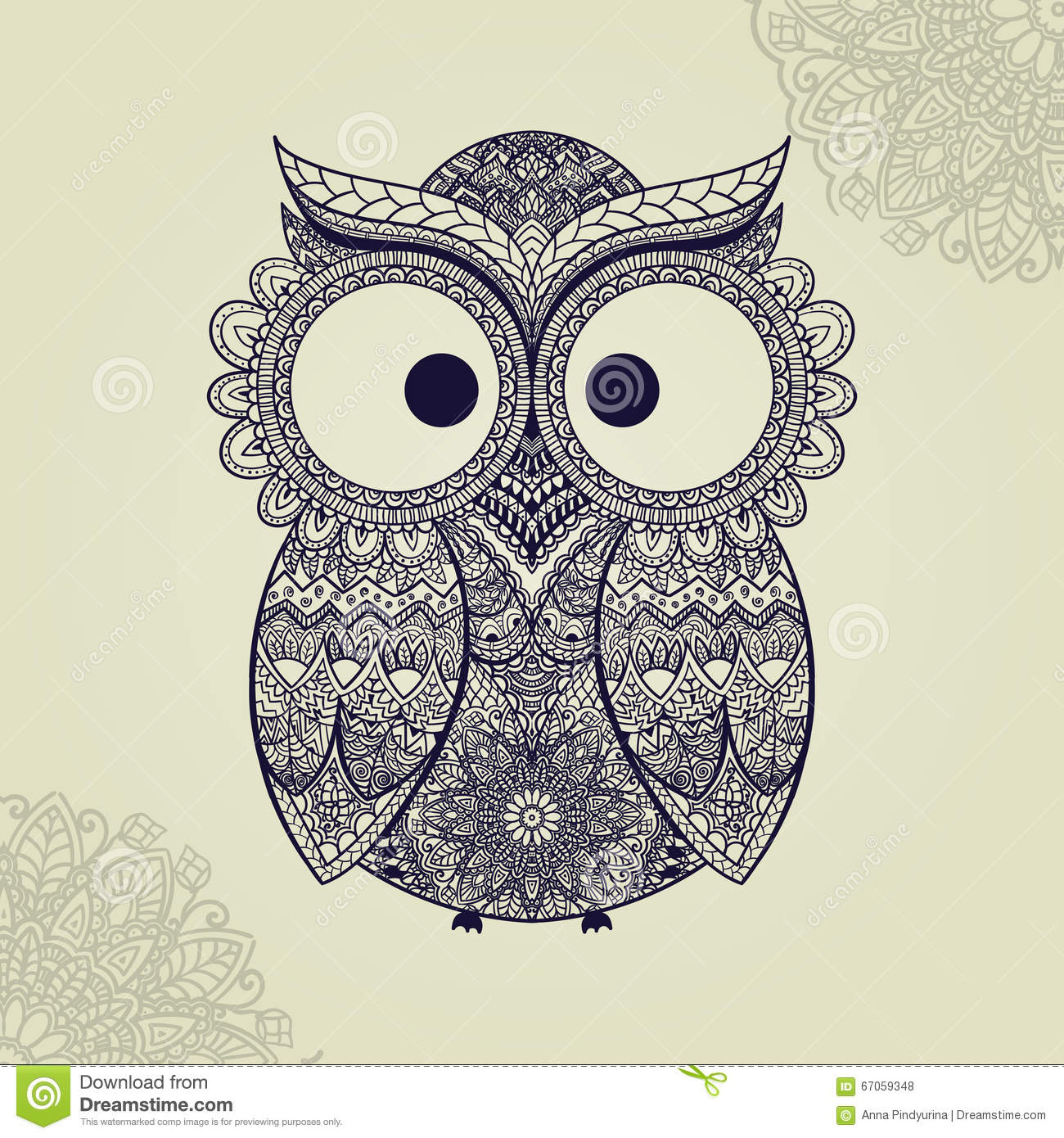 patterned owl on the ornamental mandala background africanindiantotemtattoo design it may be used for design of a t