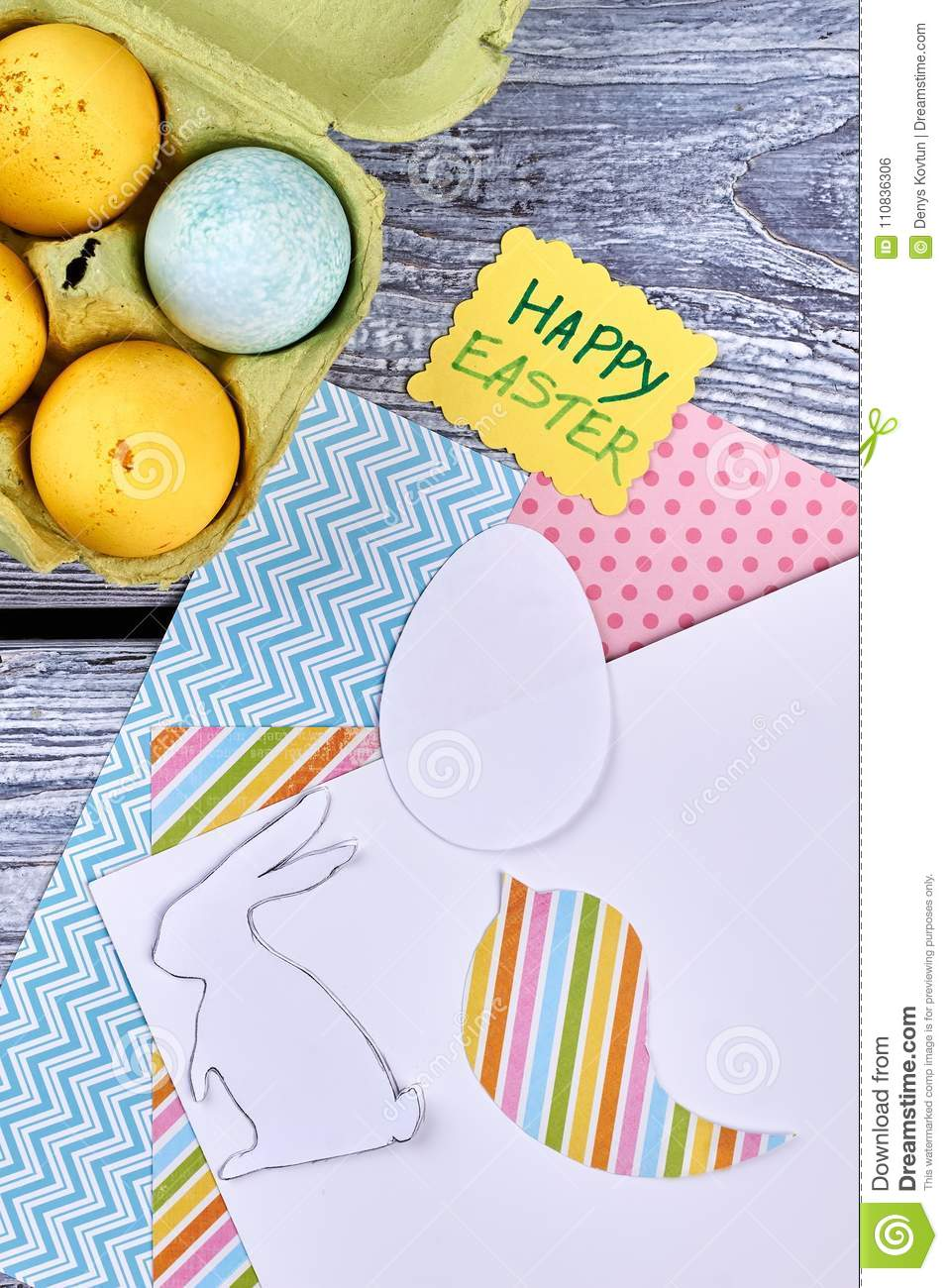 Patterned Paper And Easter Eggs Stock Photo Image Of Bunny