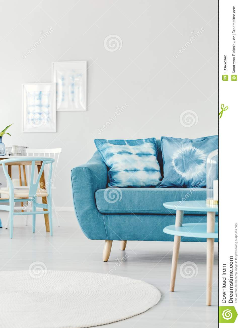 Turquoise And White Living Room Stock Photo - Image of scandi ...