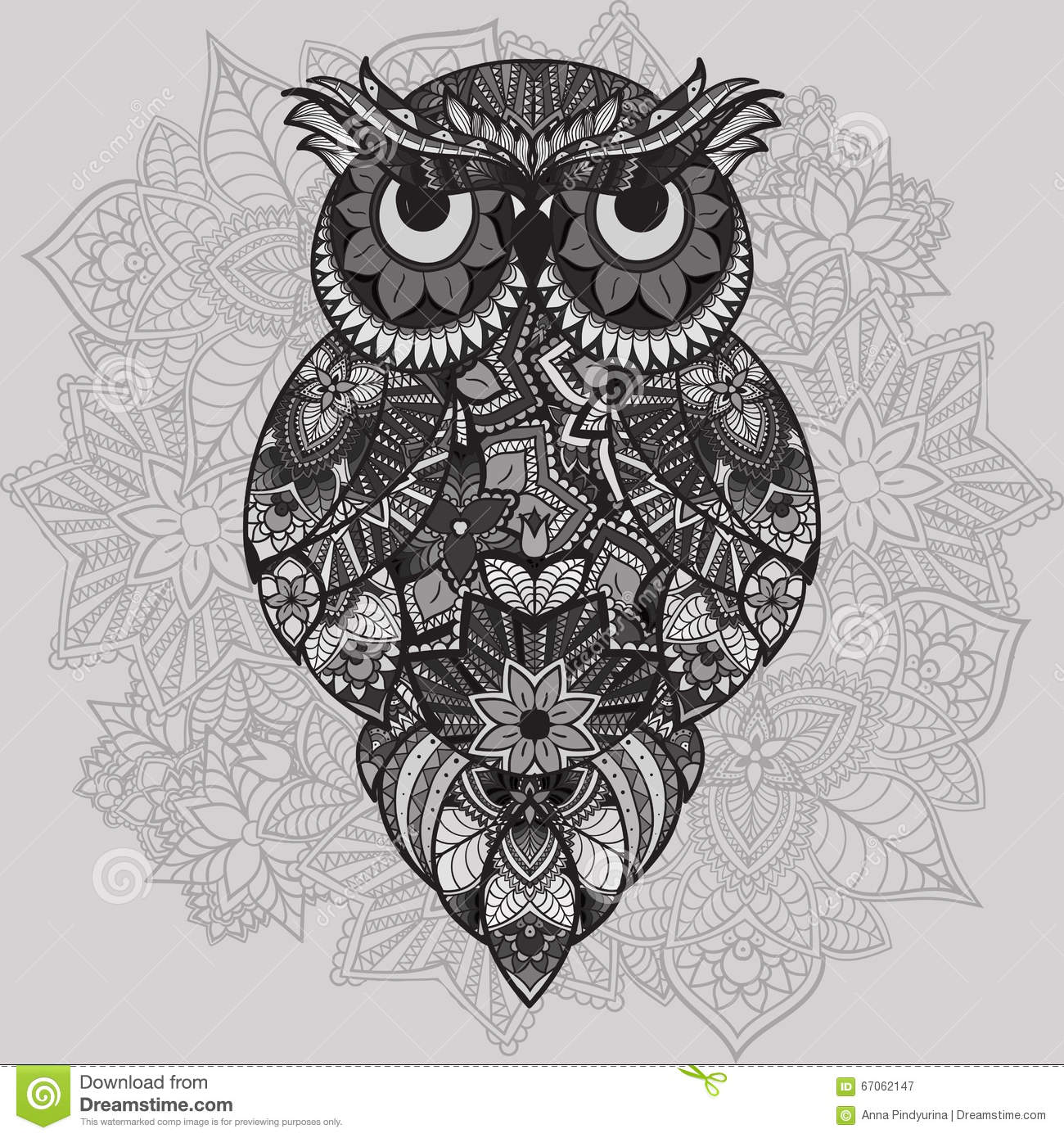 Patterned vector owl on the ornamental mandala background african patterned vector owl on the ornamental mandala background african indian totem tattoo design vector owl in tribal biocorpaavc Images