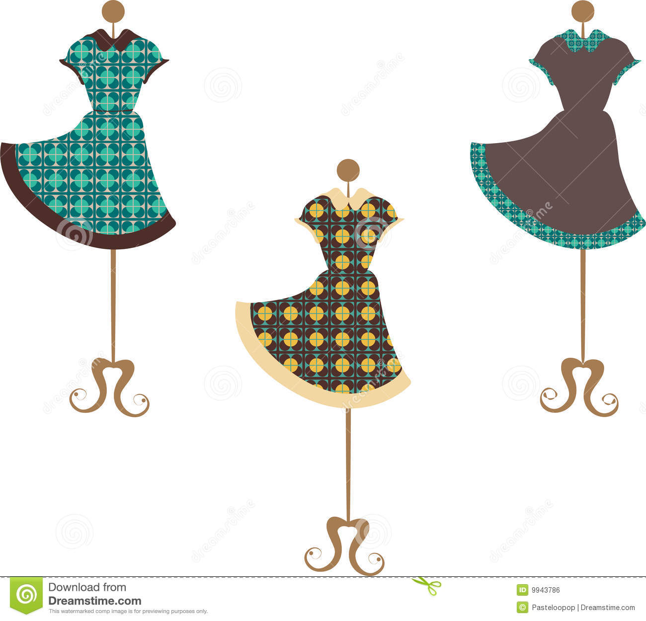Trendy vintage dresses which are patterned with flowers each standing