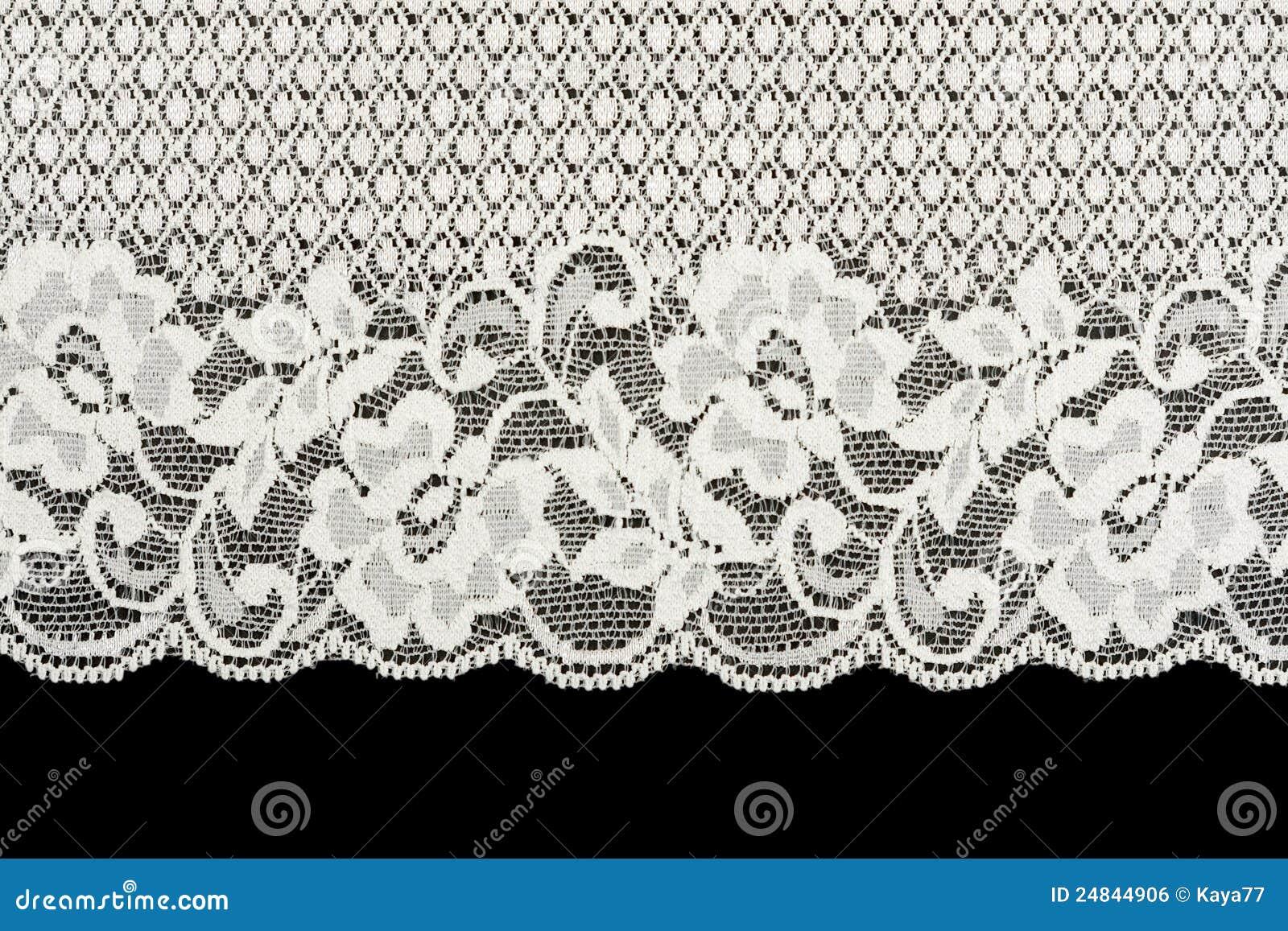 Patterned White Lace On Black Background Stock Photo ...