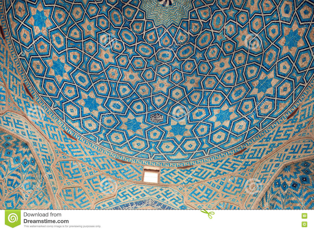 Patterns Of Ceramic Tile Of The Blue Ceiling Of The Historic Mosque