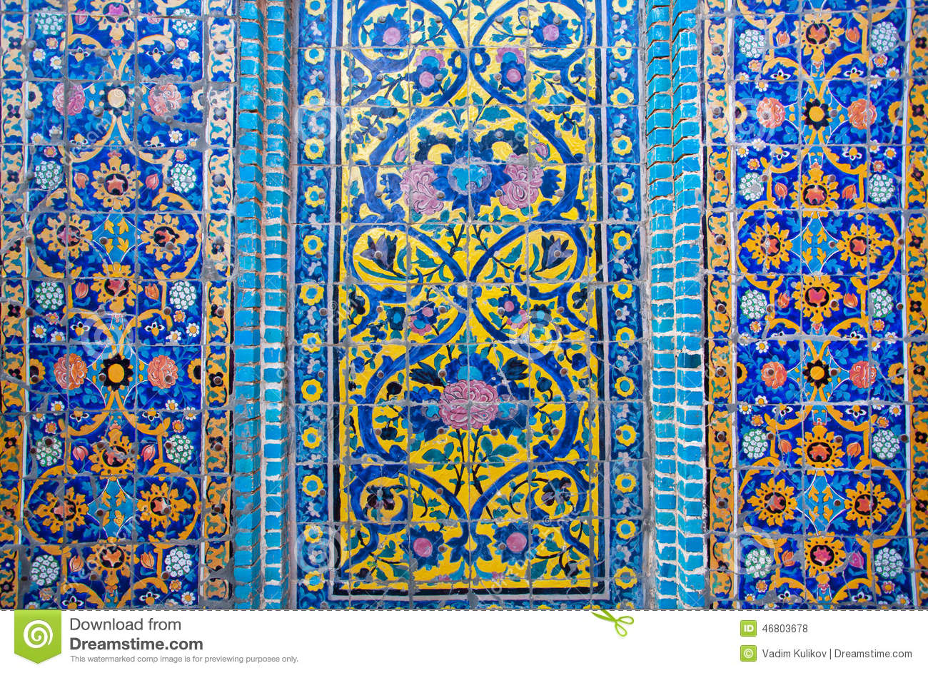 Patterns On A Crumbling Tile Of Beautiful Persian Palace