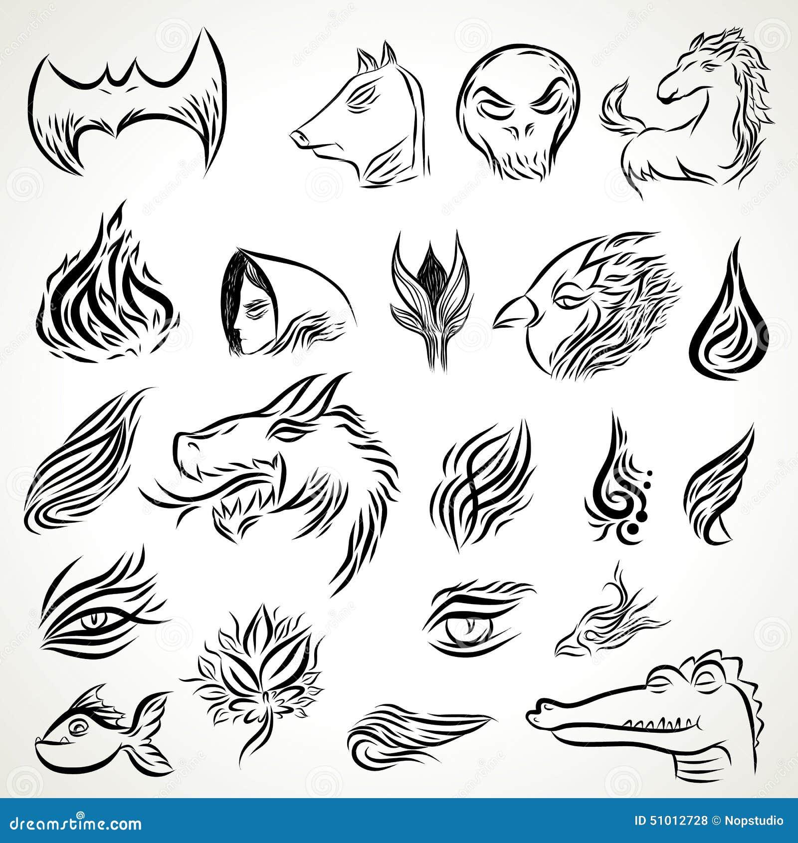 f17eb94ed Patterns Of Tribal Tattoo Set Stock Vector - Illustration of ...