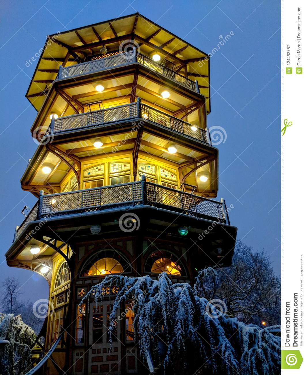Patterson Park Pagoda on a snowy night in Baltimore