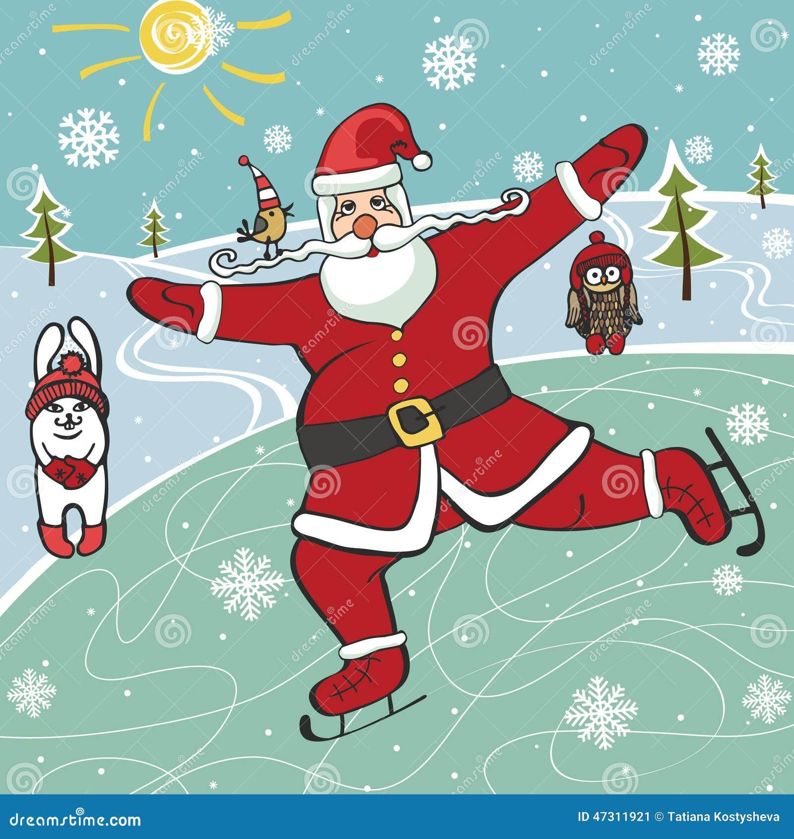 Immagini Natale Umoristiche.Pattinaggio Artistico Di Santa Illustrazioni Umoristiche