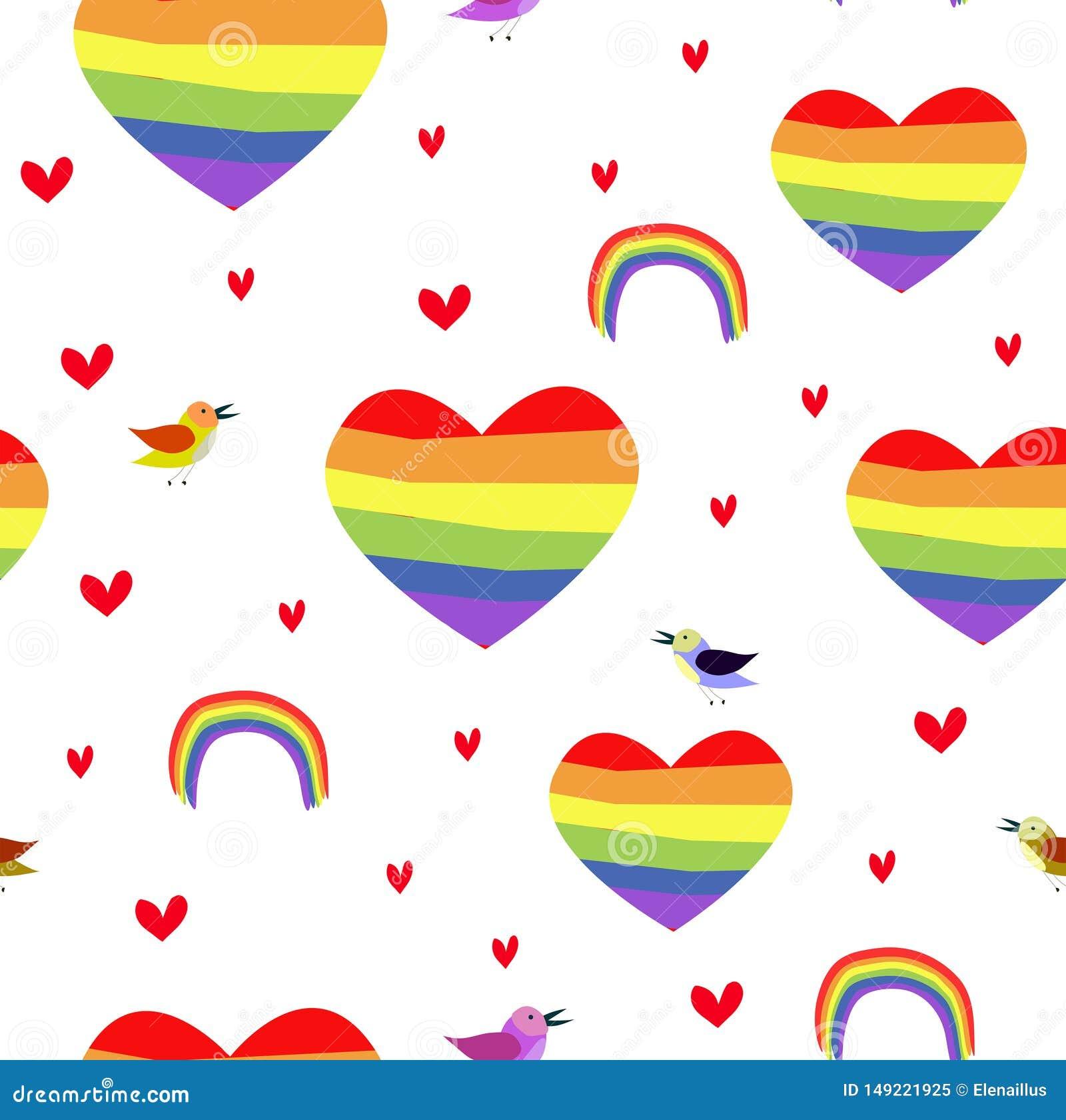 Patttern sem emenda do vetor com corações do arco-íris Pride Day