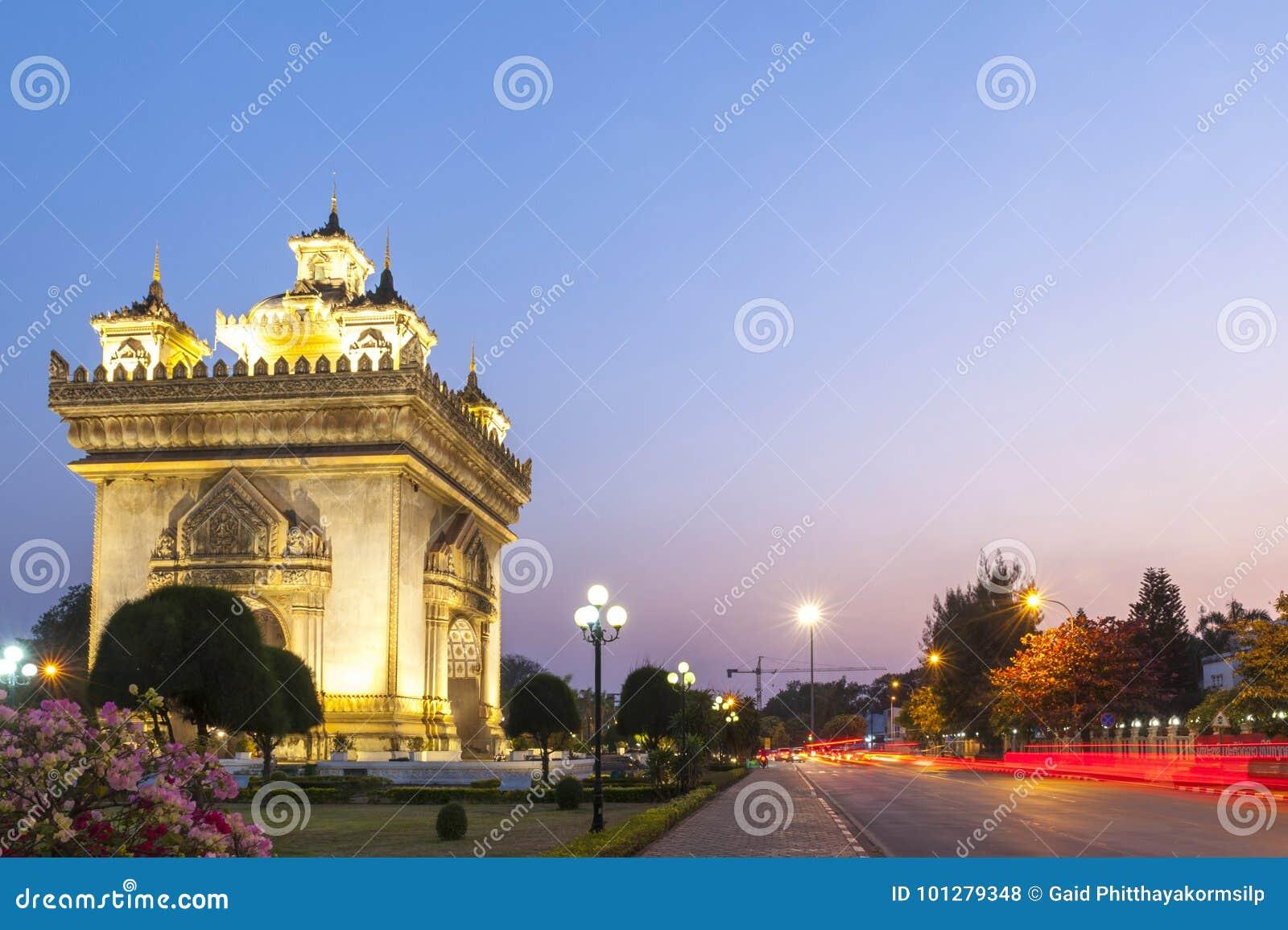 Patuxay lub Patuxai zwycięstwa zabytek, architektoniczny punkt zwrotny Vientiane, stolica Laos