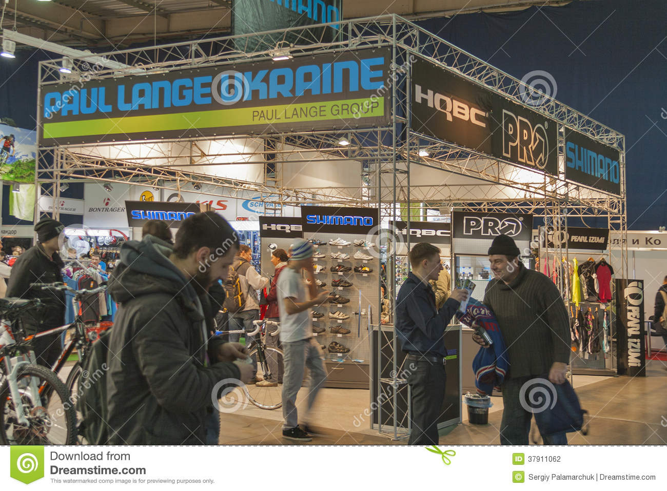Trade Show Booth Visitors : Paul lange ukraine booth at bike trade show editorial