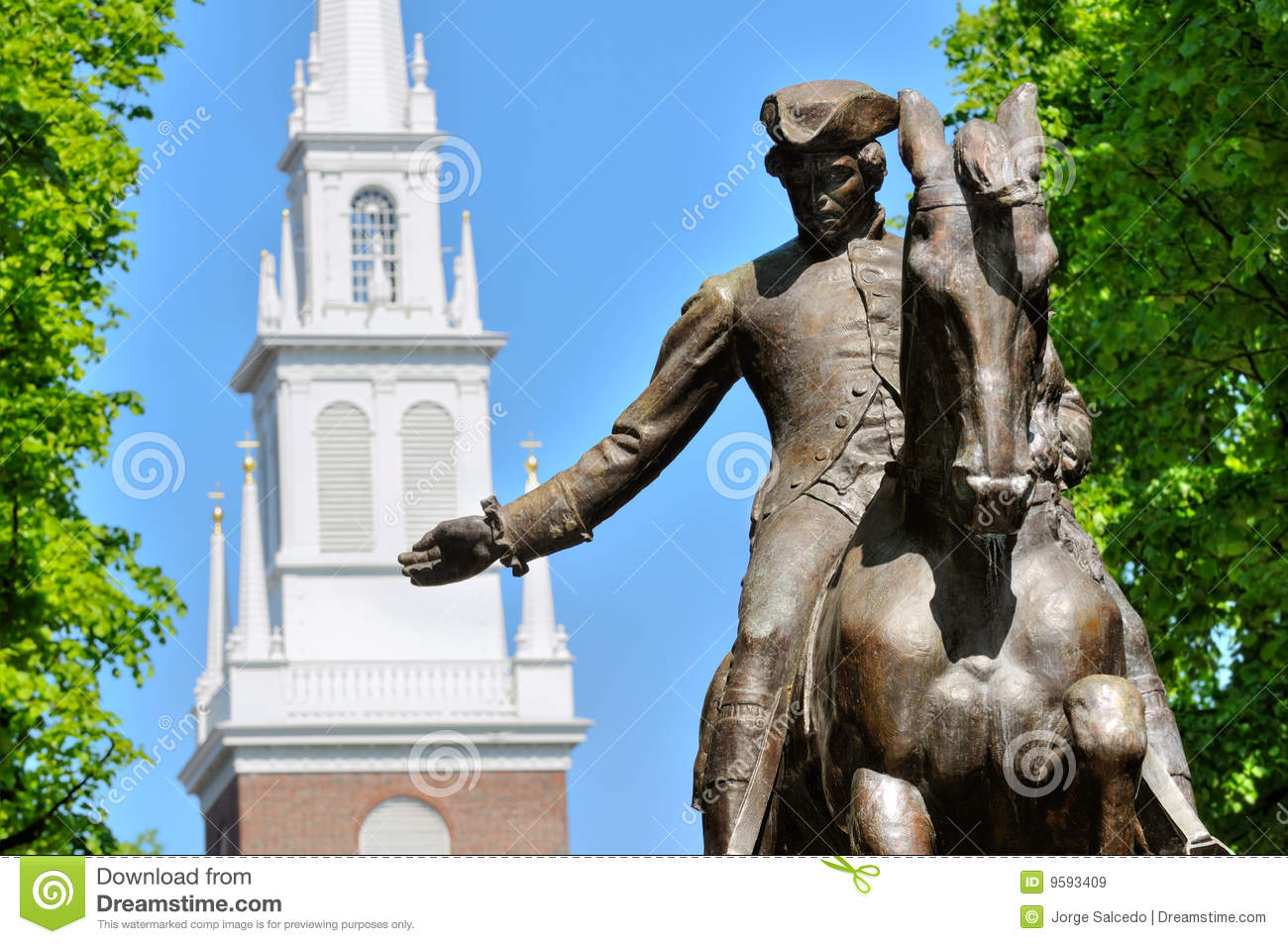 Paul Revere And Old North Church Royalty Free Stock Images - Image ...