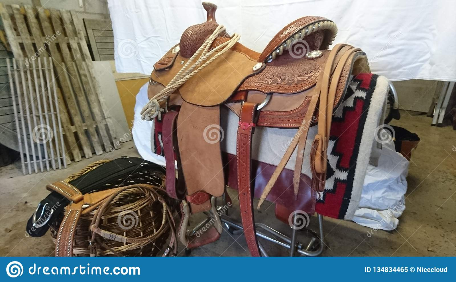 Paul Turner Quarter Horse Western Show Saddle Editorial