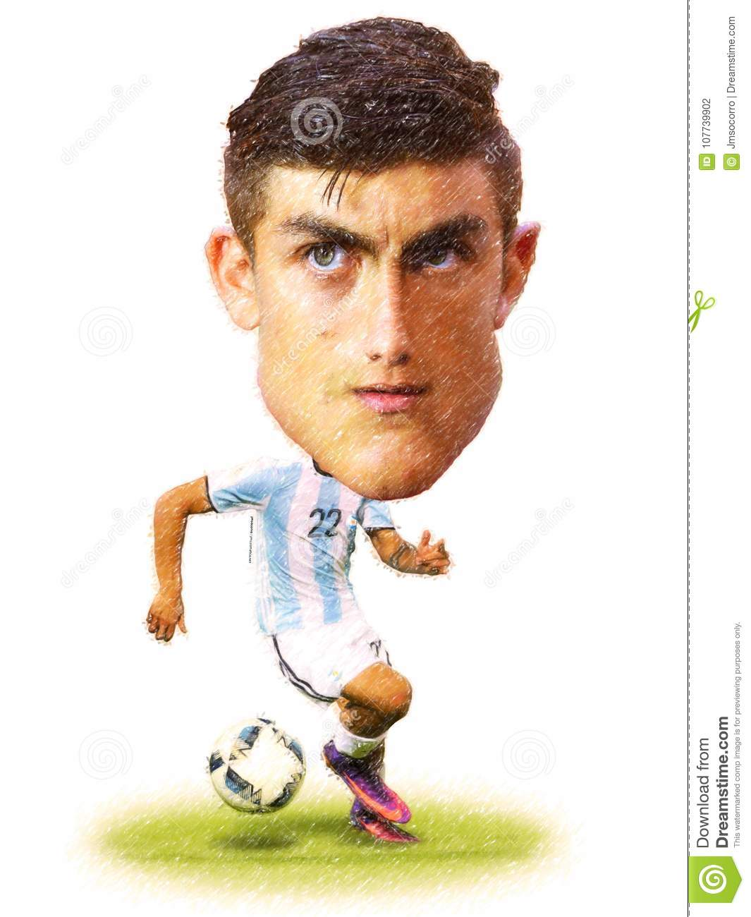 Cartoon of paulo dybala football player of argentina national team