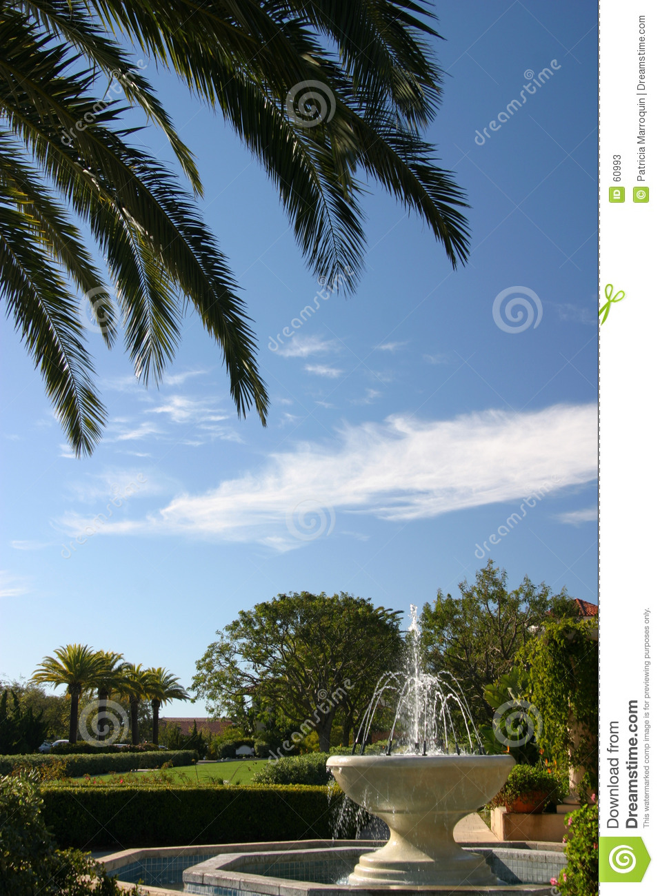 Download Paumes et fontaine image stock. Image du california, mission - 60993