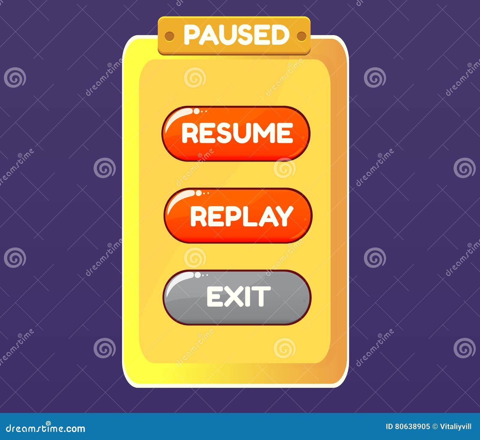 Pausa del juego GUI de la interfaz gráfica de usuario UI del vector para los 2.os videojuegos