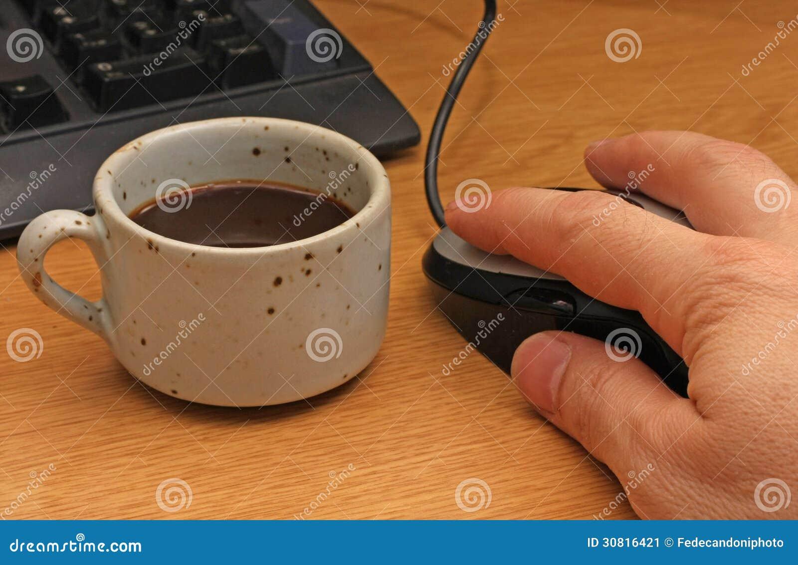 Pause-café à l ordinateur