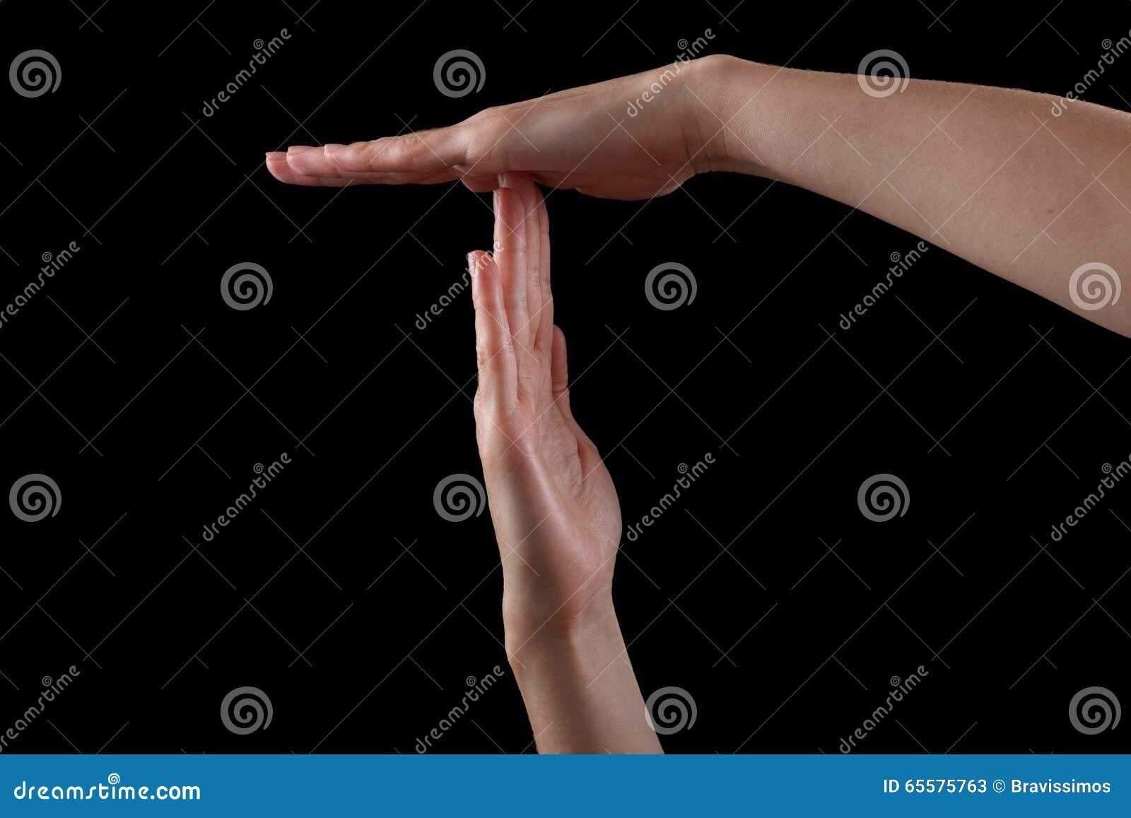 Pauze of onderbrekings het gebaar van de tijdhand, schot op zwarte