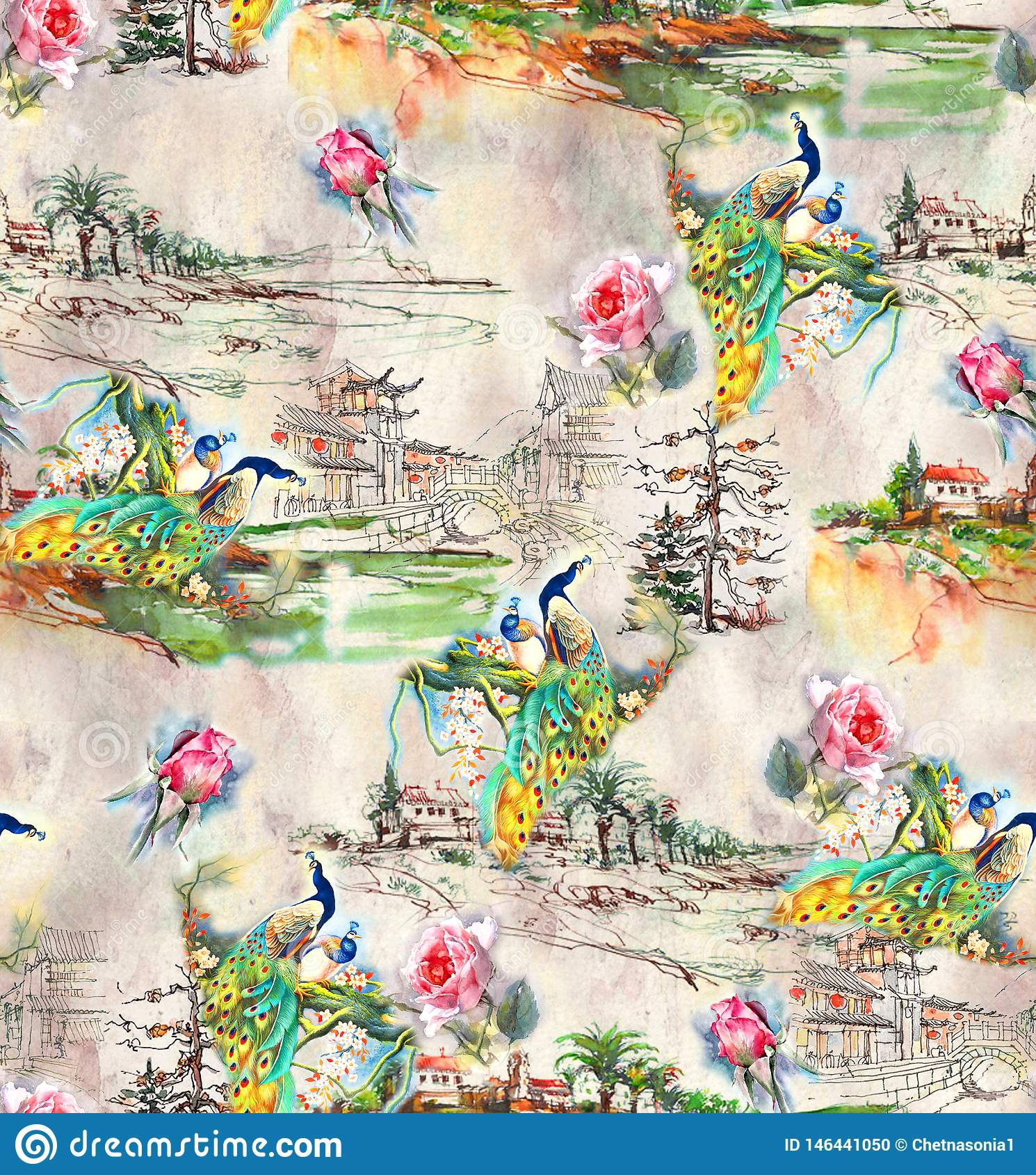 Pav?o abstrato sem emenda do fundo da natureza com flor cor-de-rosa