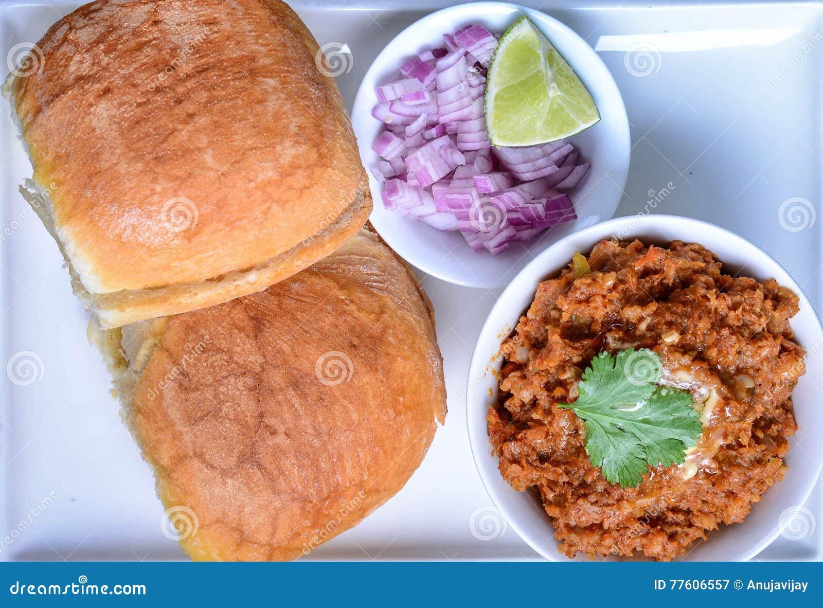 Pav Bhaji stock image  Image of falafel, balti, beans - 77606557