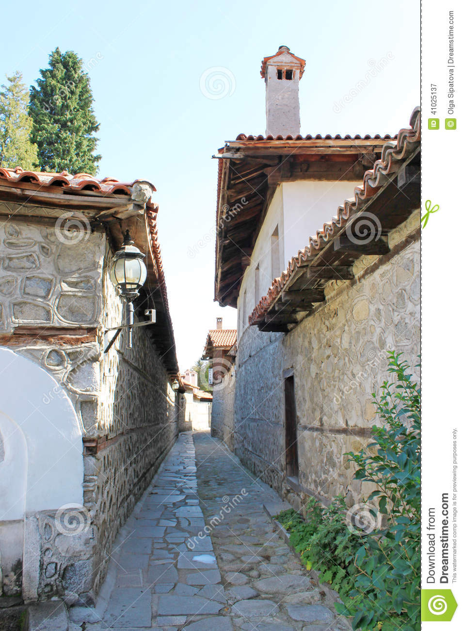 Paved Street in the Old Town of Bansko