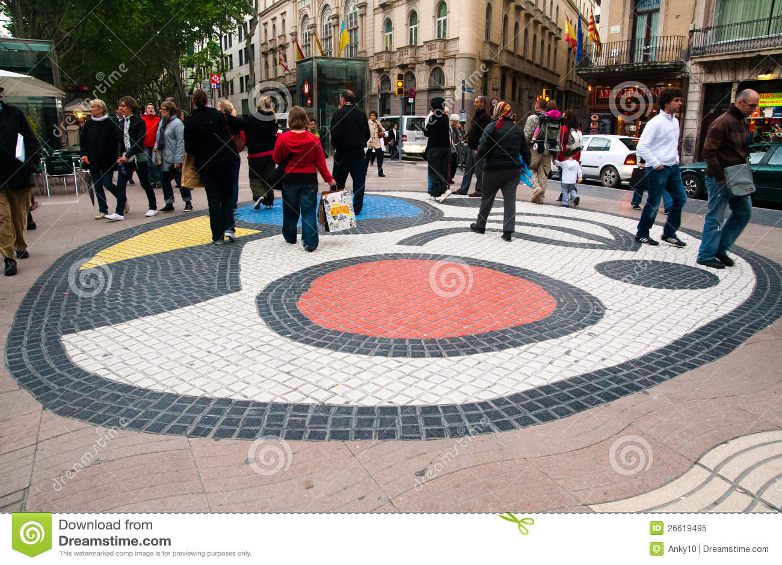 Pavement Mosaic By Joan Miro Barcelona Editorial Image Image Of