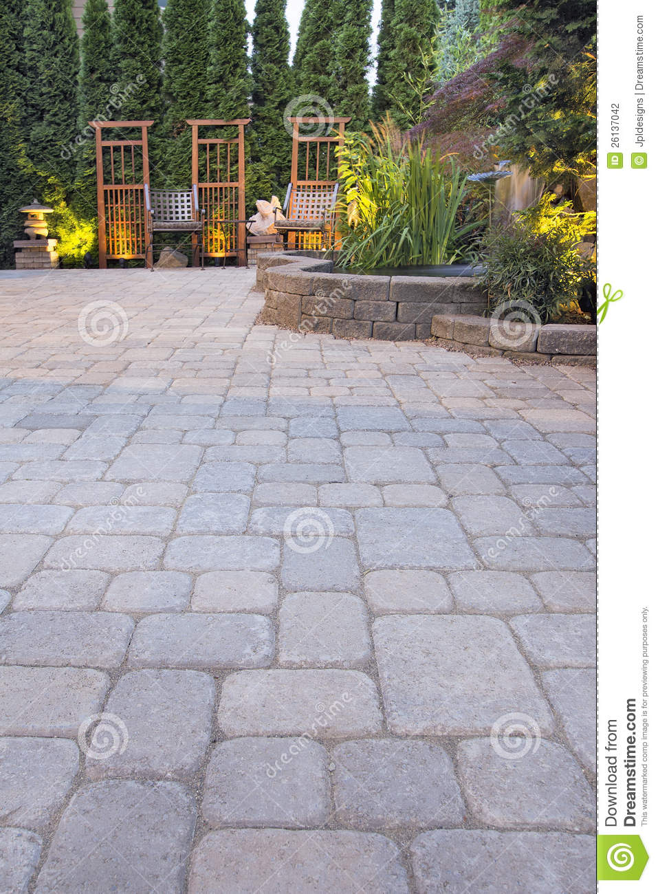 Paver Patio Garden And Landscaping Lights