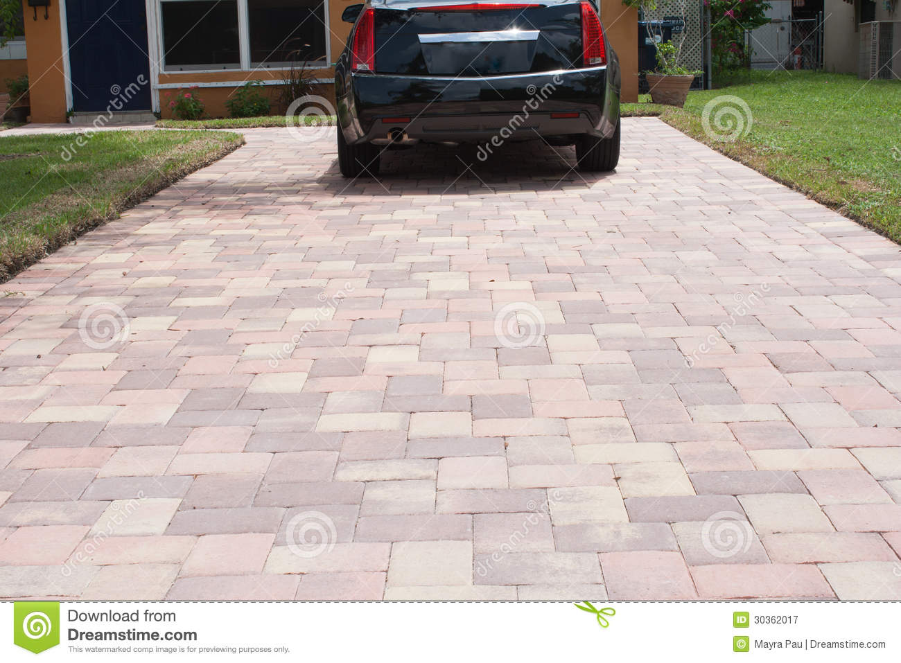 Pavers for parking stock image  Image of driveway