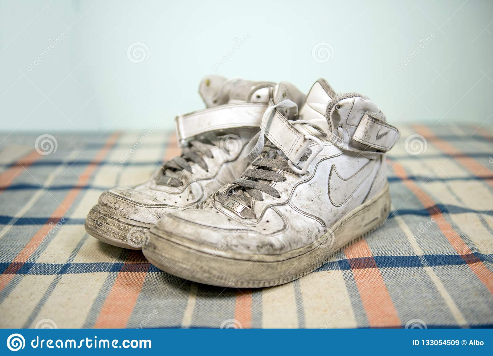 Nike Air Force One shoes editorial stock image. Image of