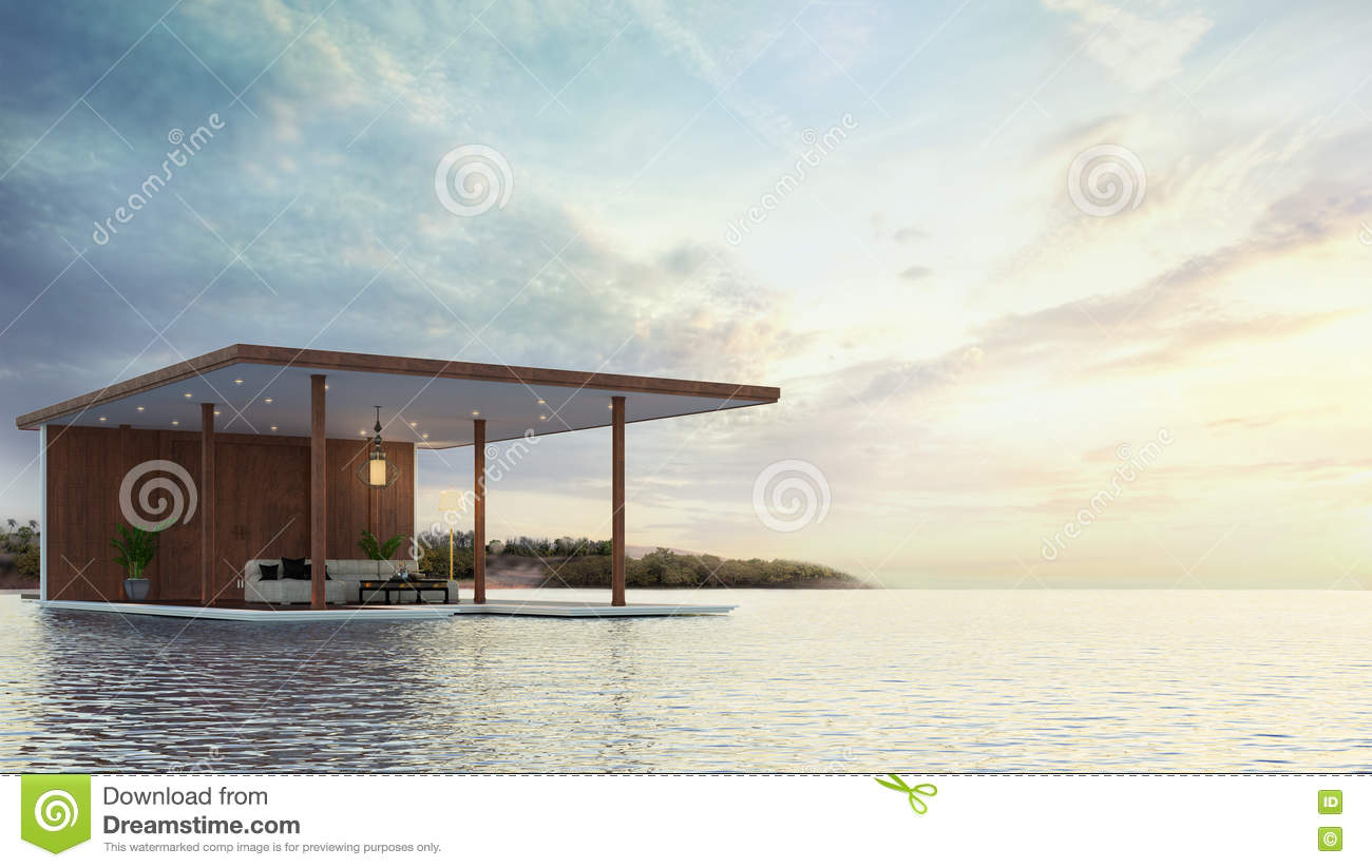 Pavilion contemporary on the beach 3d rendering stock for Pavilion concept architecture