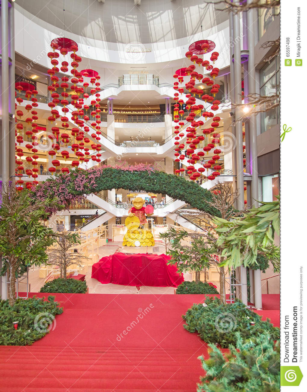 Red lantern decoration at shopping mall editorial image for Interior decoration for new year