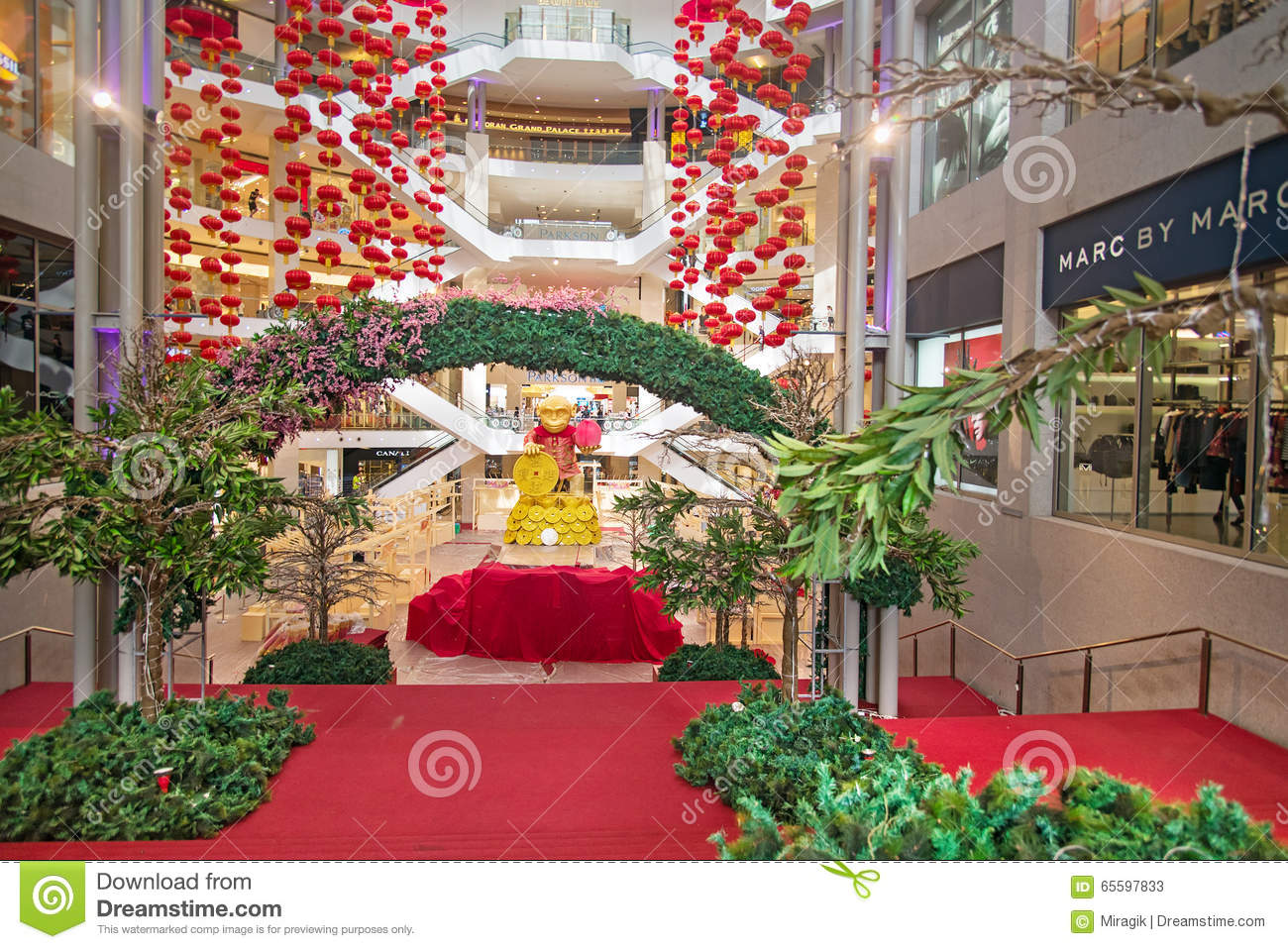 Red Lantern Decoration At Shopping Mall Editorial Image