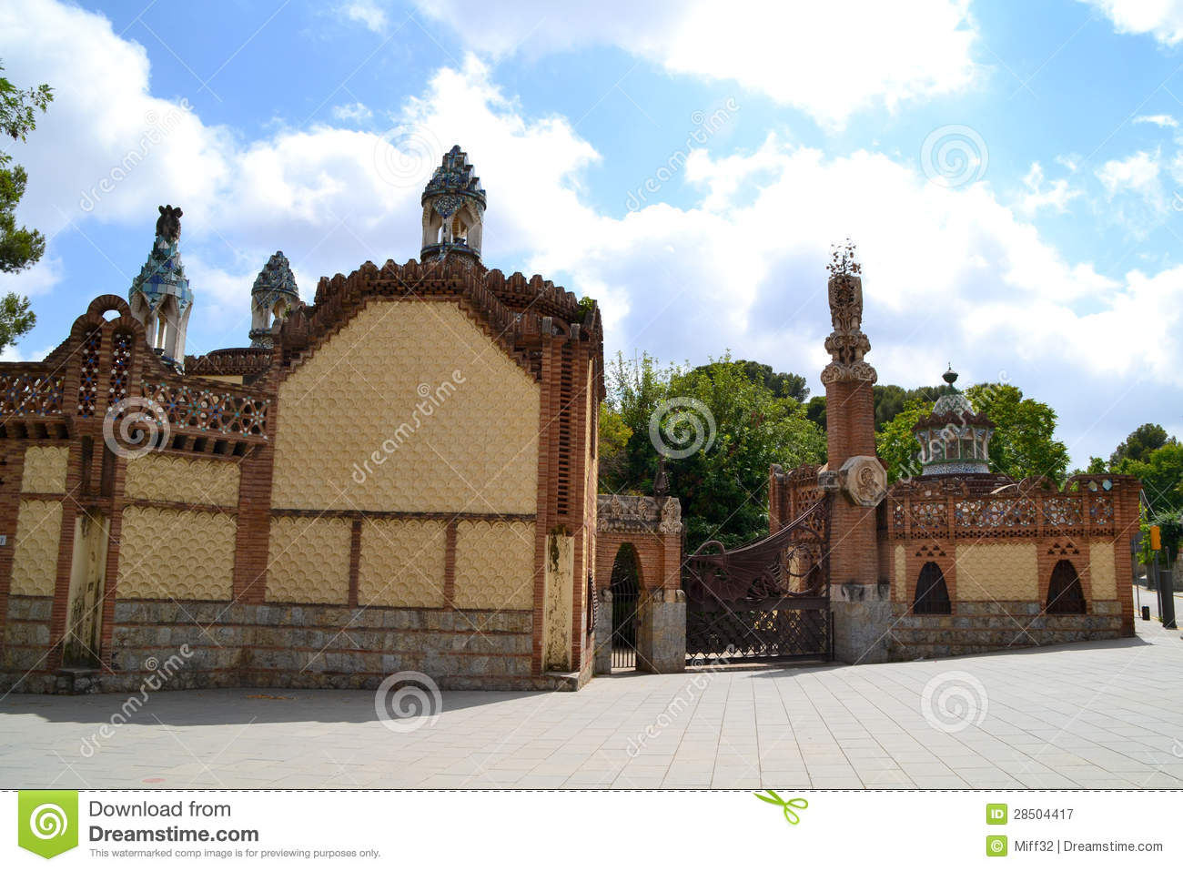 pavilions entrance to finca guell barcelona spain stock image image of guell spain 28504417. Black Bedroom Furniture Sets. Home Design Ideas