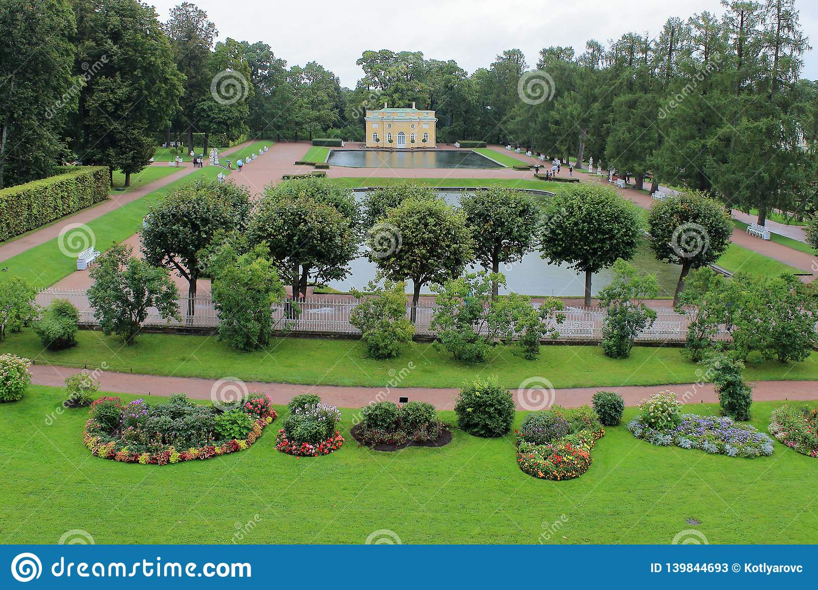 Pavilions `Upper Bath` and `Lower Bath` of the Catherine Park in the city of Pushkin.