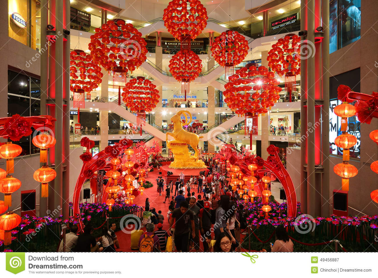 Red lantern decoration at shopping mall editorial image for Decoration new year