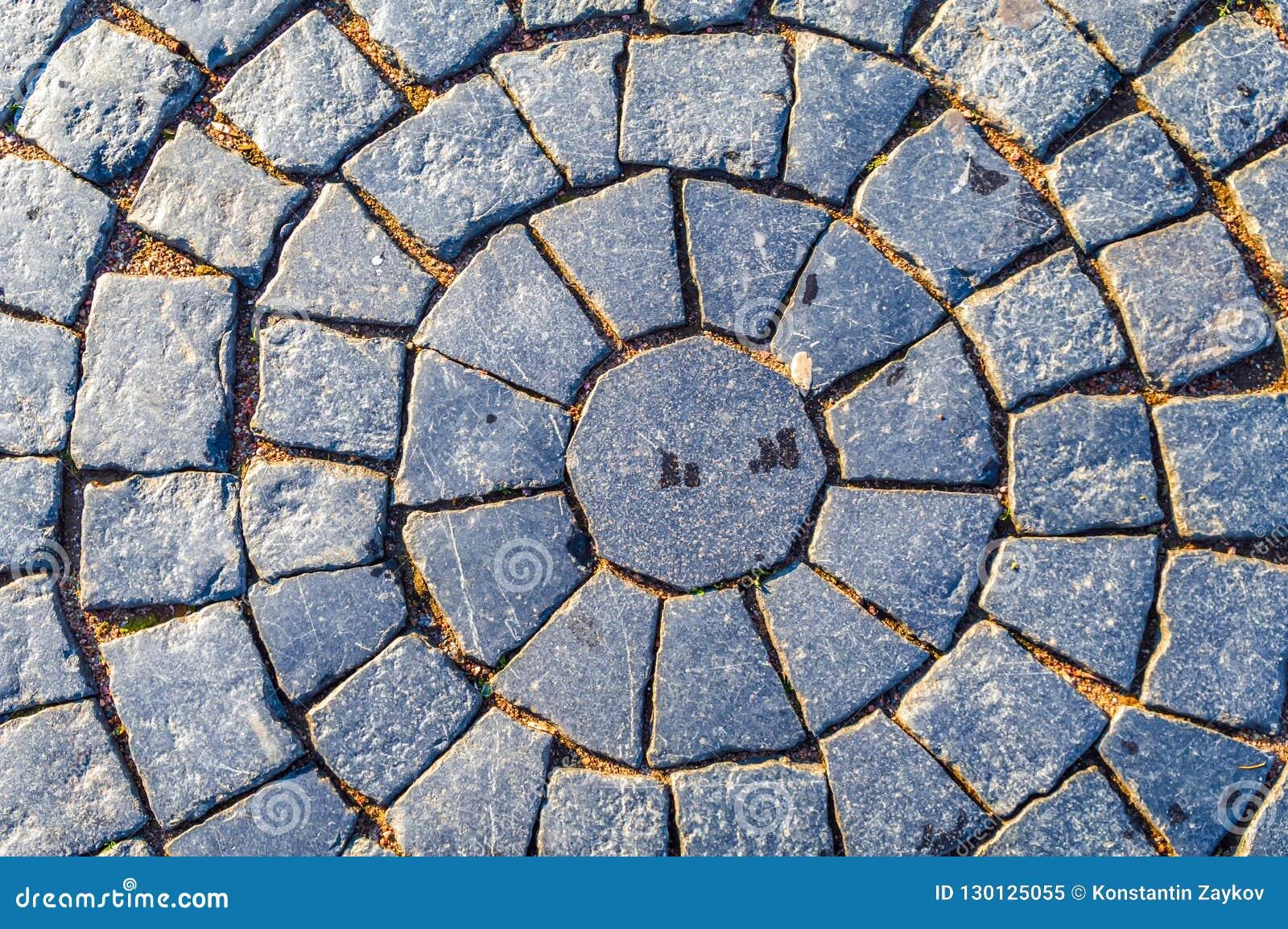 Pavimentar Teste padrão circular da pedra quadrada Pavimento no projeto do vintage que pavimenta o fundo quadrado da textura do t