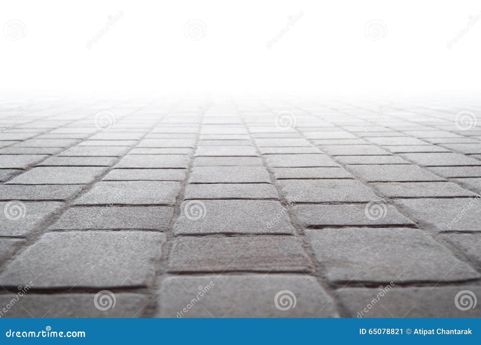 Pavimentazione in piastrelle di calcestruzzo e fondo bianco immagine