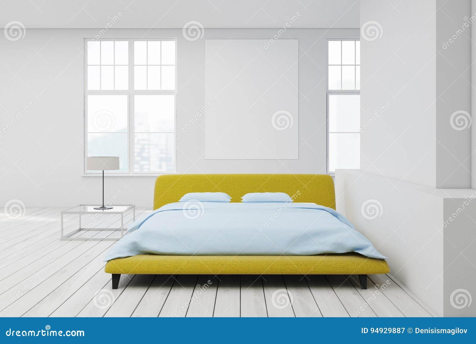 Letto Matrimoniale Giallo : Pavimento bianco del letto giallo manifesto illustrazione di stock