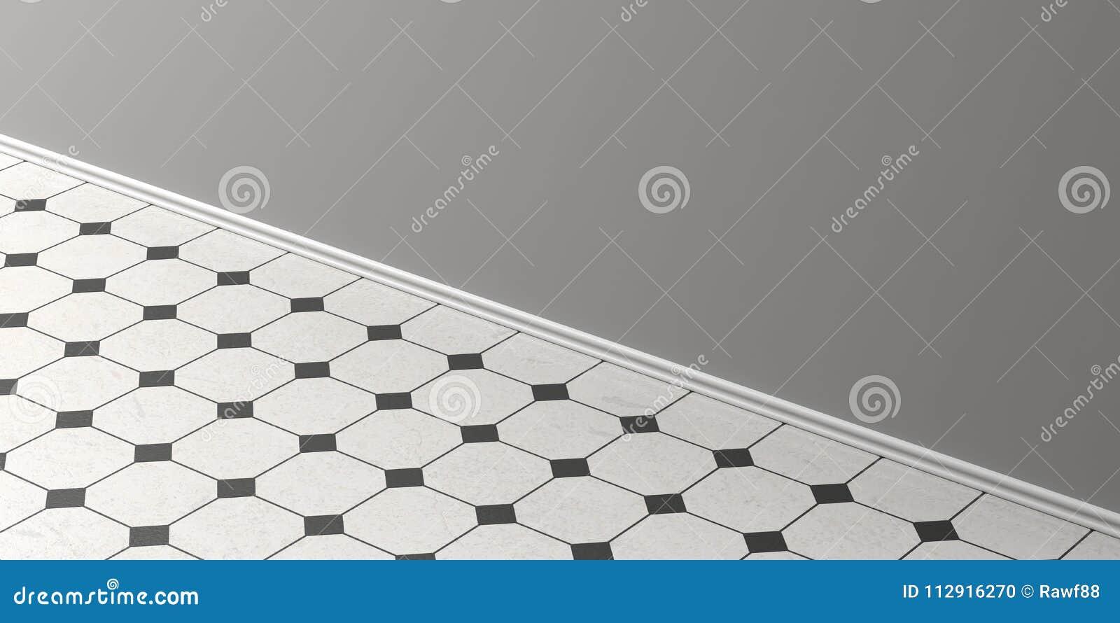 Pavimento bianco e nero dannata delle piastrelle di ceramica
