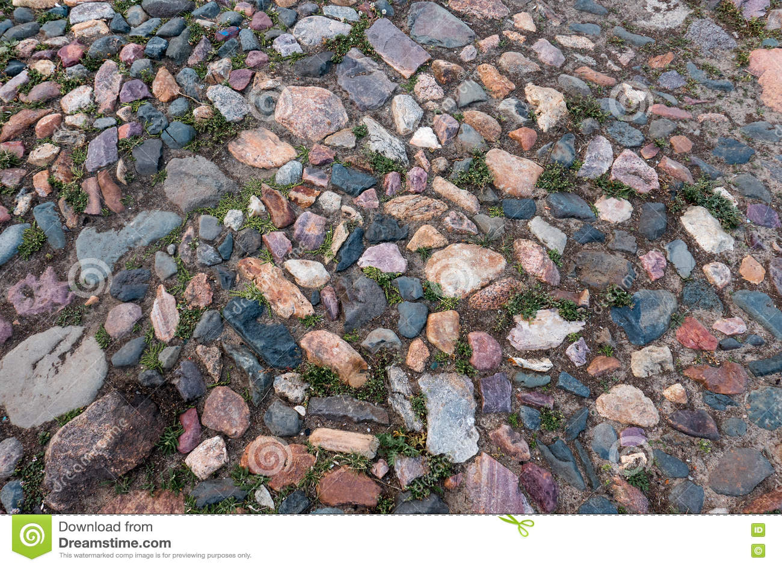 Pavimento de pedra colorido velho