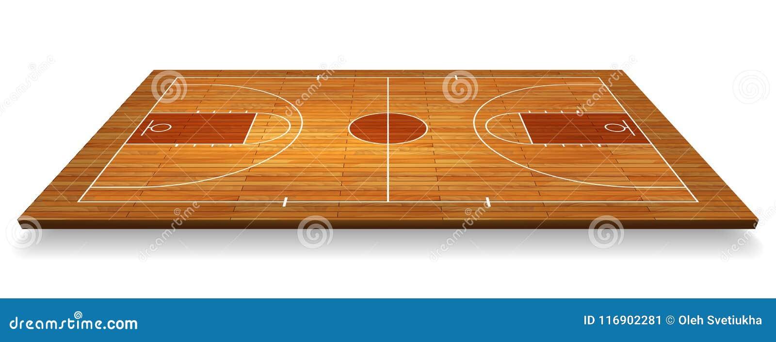 Pavimento del campo da pallacanestro di prospettiva con la linea sul fondo di legno di struttura Illustrazione di vettore