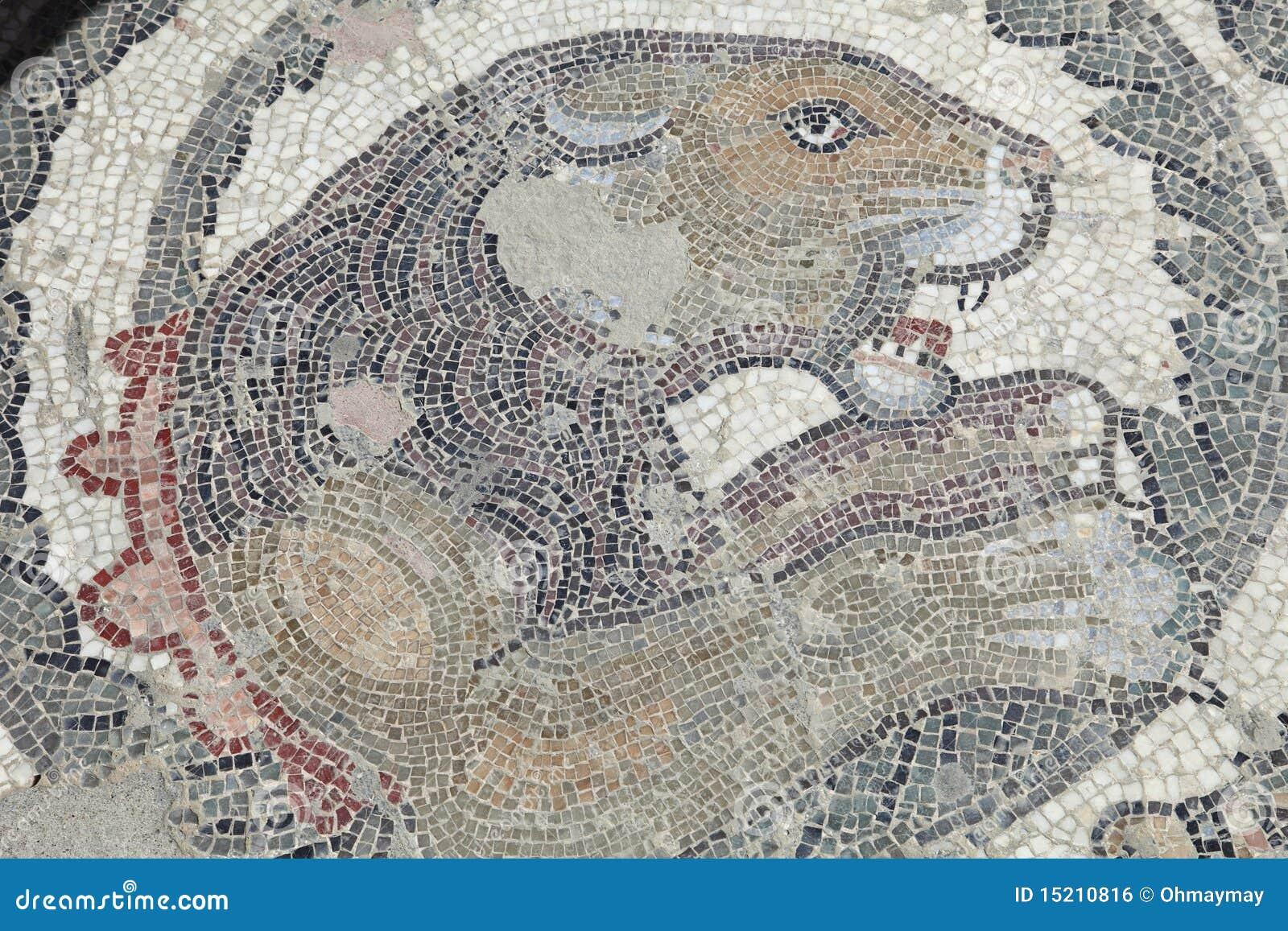 Pavimento di mosaico antico del leone immagine stock for Mosaico pavimento
