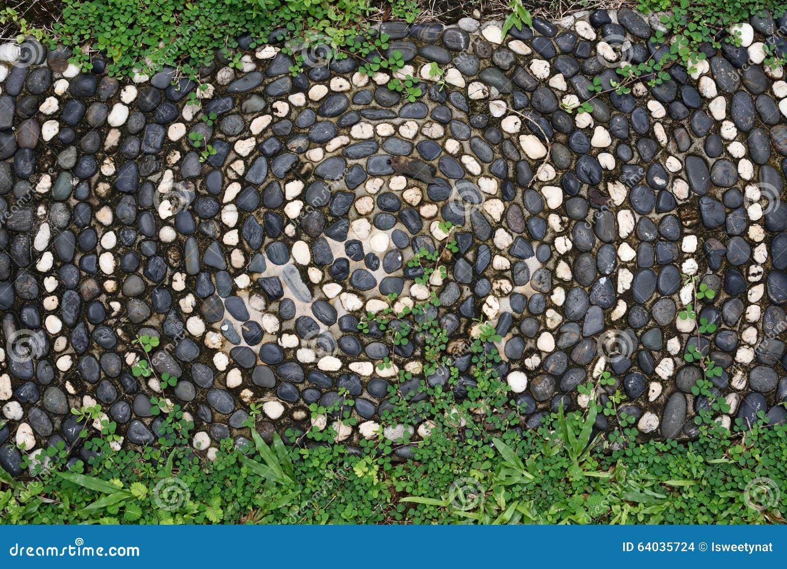 Pavimento di mosaico dei ciottoli con il modello e la for Pavimento con mosaico