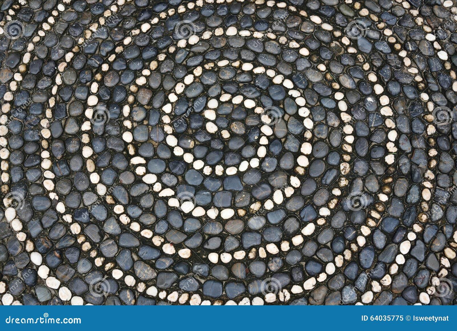 Pavimento di mosaico dei ciottoli con il modello a spirale for Pavimento con mosaico