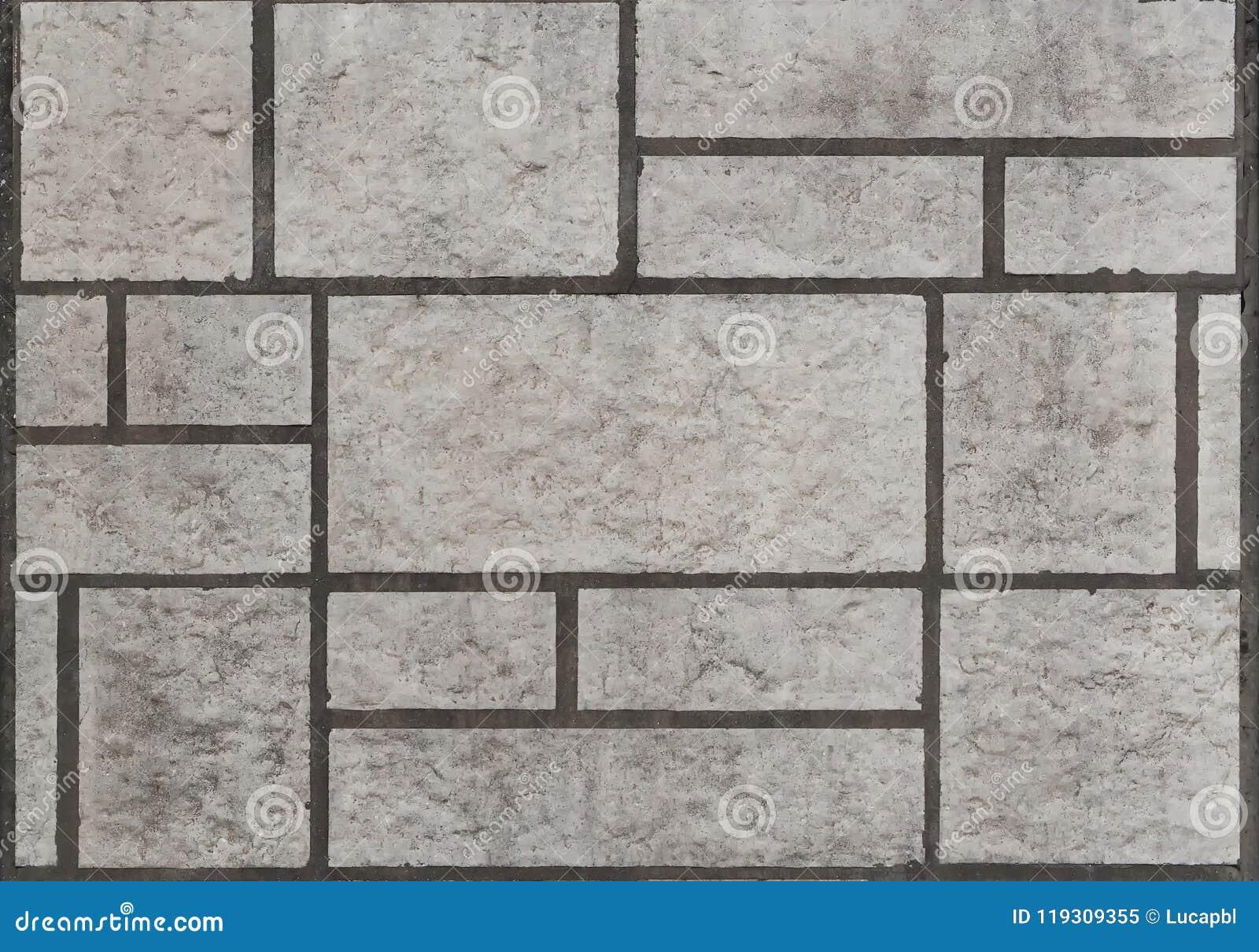Pavimento grigio della pietra delle mattonelle per esterno vista