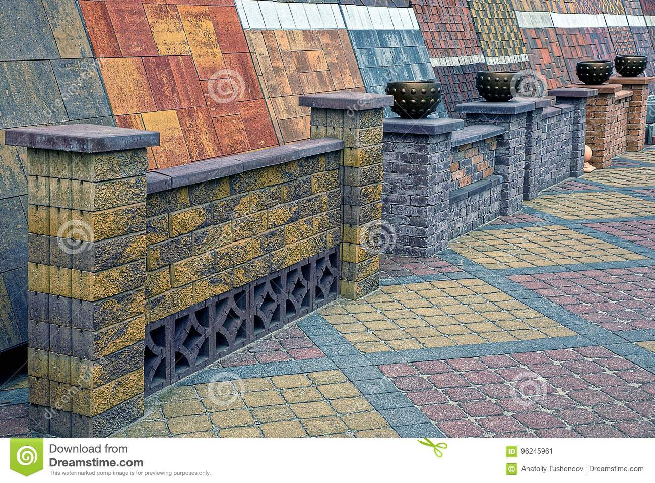 Paving Colored Tiles And Mock-ups Of Brick Fences In The Warehouse