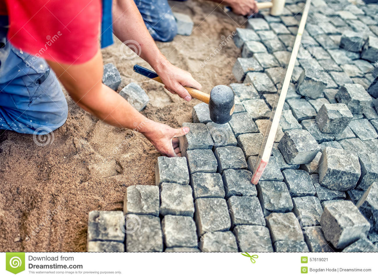 paving  granite stones workers  industrial